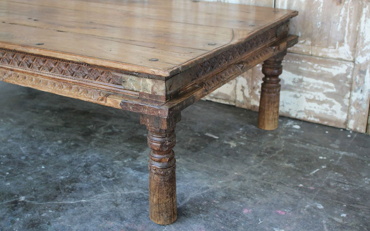 Temple Day Bed Coffee Table In Teak Wood From Hyderabad